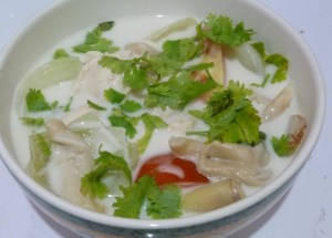A nice warm bowl of Tom Kha is great on a cold day!