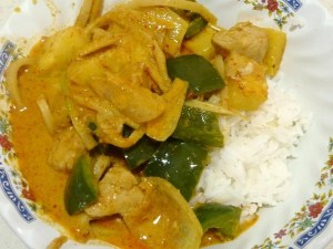 Pineapple Curry with Chicken made in my Thailand kitchen