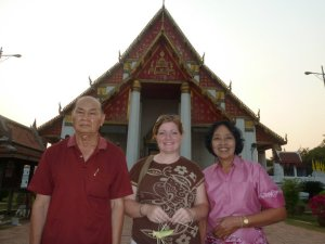 My paw and mae on a tour of the wats in Ayutthaya.